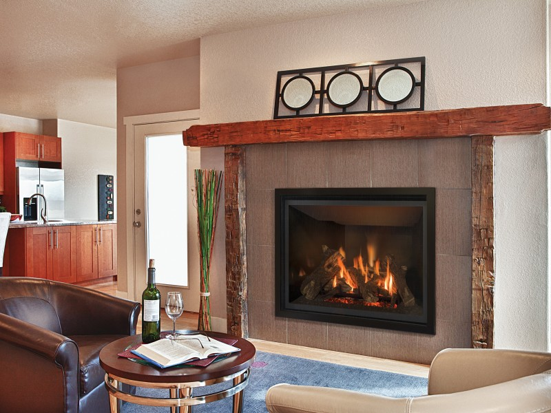 Direct vent gas fireplace with a traditional log set and a standard split flow burner.